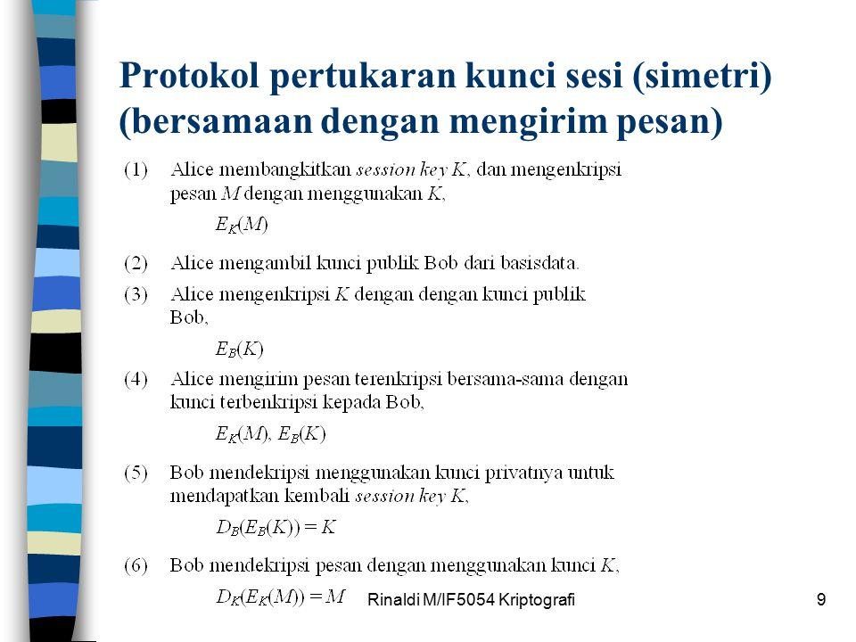 Rinaldi M/IF5054 Kriptografi9 Protokol pertukaran kunci sesi (simetri) (bersamaan dengan mengirim pesan)