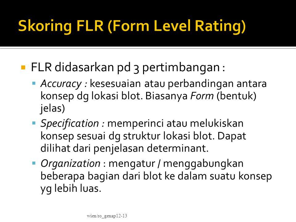  FLR didasarkan pd 3 pertimbangan :  Accuracy : kesesuaian atau perbandingan antara konsep dg lokasi blot.