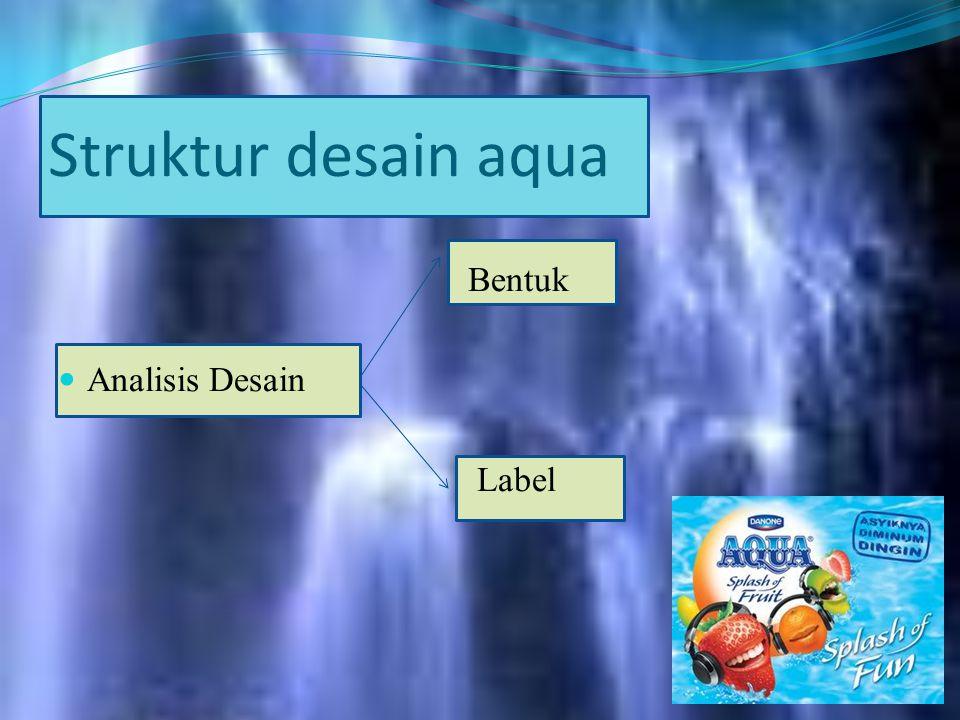 Struktur desain aqua Bentuk Analisis Desain Label