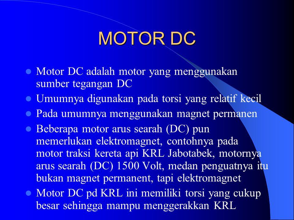 MOTOR DC Motor DC adalah motor yang menggunakan sumber tegangan DC Umumnya digunakan pada torsi yang relatif kecil Pada umumnya menggunakan magnet per