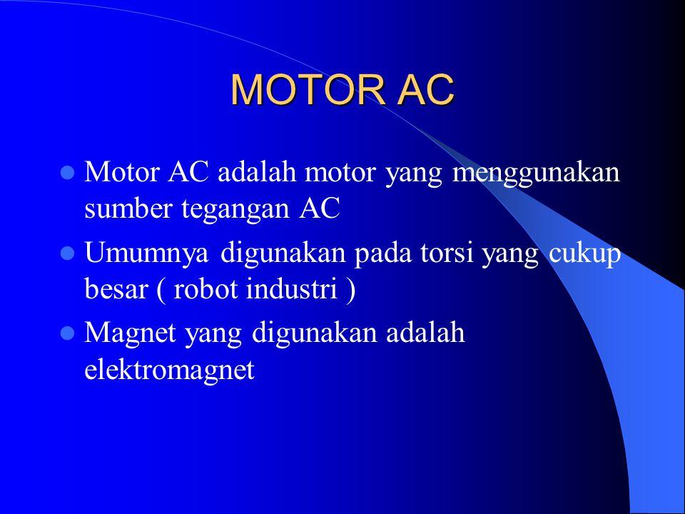 MOTOR AC Motor AC adalah motor yang menggunakan sumber tegangan AC Umumnya digunakan pada torsi yang cukup besar ( robot industri ) Magnet yang diguna