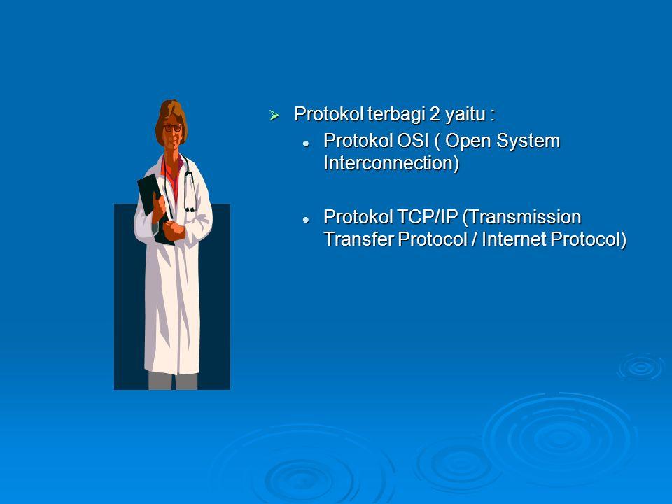 Protokol Adalah suatu prosedur atau peraturan- peraturan yang mengatur operasi dari peralatan komunikasi data.atau Aturan-aturan dan perjanjian yang Mengatur pertukaran informasi antar komputer