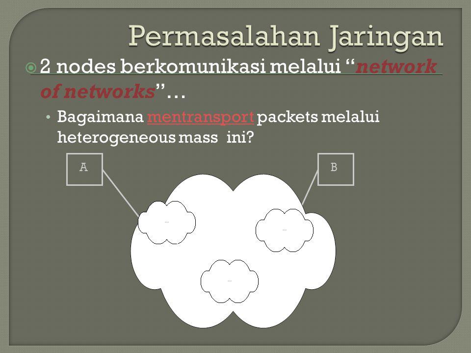 " 2 nodes berkomunikasi melalui ""network of networks""… Bagaimana mentransport packets melalui heterogeneous mass ini? AB"