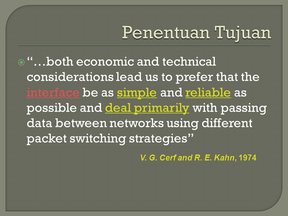 " ""…both economic and technical considerations lead us to prefer that the interface be as simple and reliable as possible and deal primarily with pass"