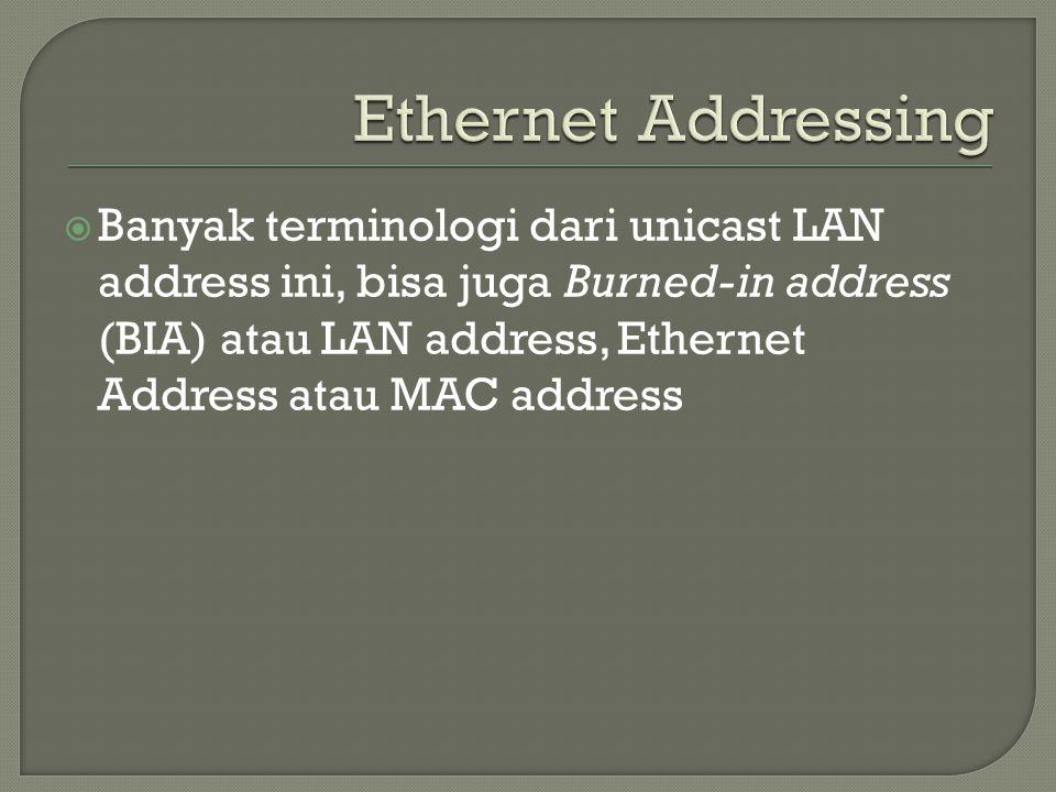  Banyak terminologi dari unicast LAN address ini, bisa juga Burned-in address (BIA) atau LAN address, Ethernet Address atau MAC address