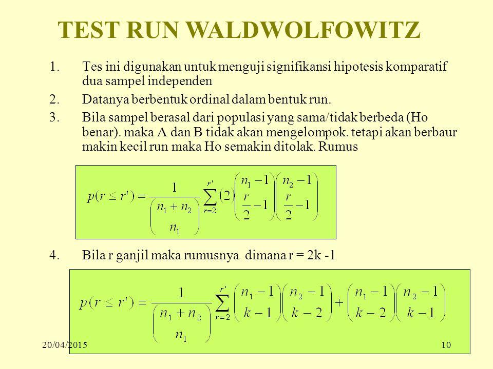 1.Tes ini digunakan untuk menguji signifikansi hipotesis komparatif dua sampel independen 2.Datanya berbentuk ordinal dalam bentuk run. 3.Bila sampel