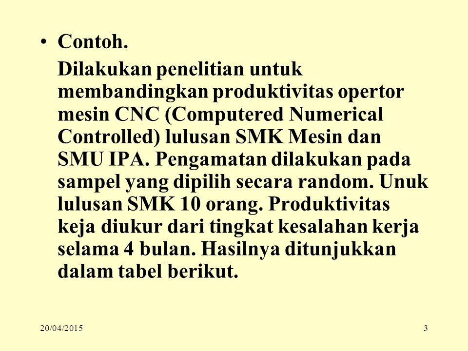 Contoh. Dilakukan penelitian untuk membandingkan produktivitas opertor mesin CNC (Computered Numerical Controlled) lulusan SMK Mesin dan SMU IPA. Peng