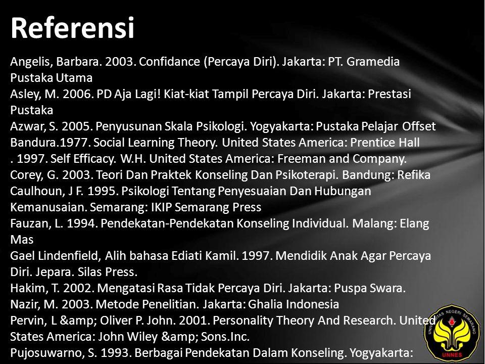 Referensi Angelis, Barbara. 2003. Confidance (Percaya Diri). Jakarta: PT. Gramedia Pustaka Utama Asley, M. 2006. PD Aja Lagi! Kiat-kiat Tampil Percaya