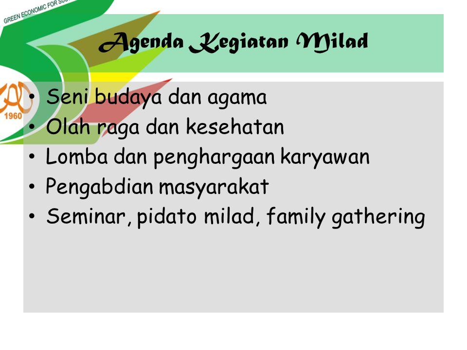 Agenda Kegiatan Milad Seni budaya dan agama Olah raga dan kesehatan Lomba dan penghargaan karyawan Pengabdian masyarakat Seminar, pidato milad, family