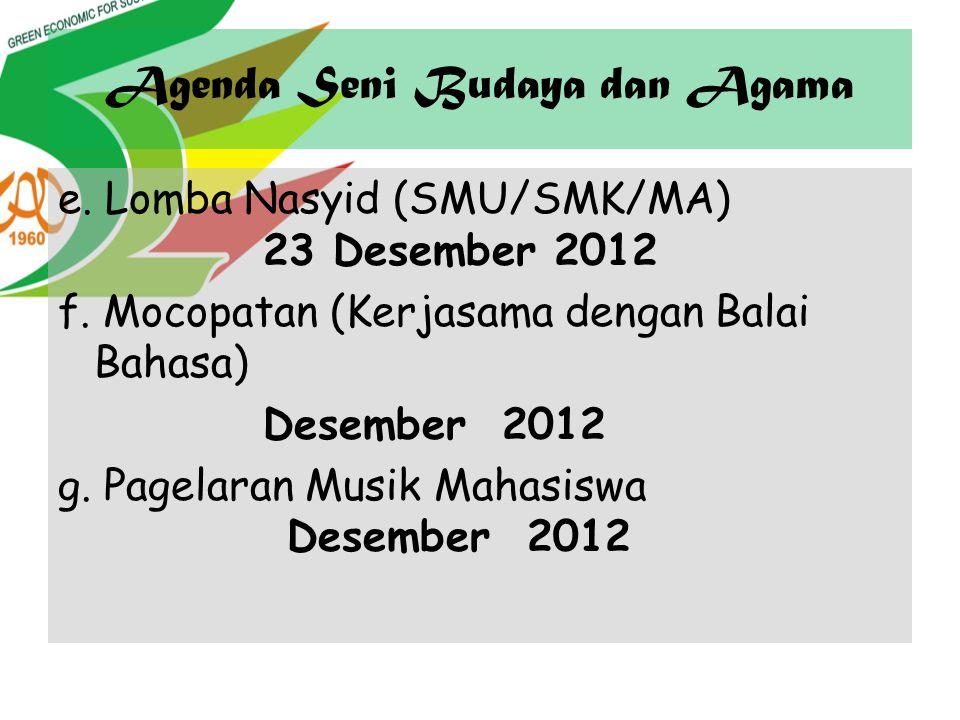 Agenda Seni Budaya dan Agama e. Lomba Nasyid (SMU/SMK/MA) 23 Desember 2012 f. Mocopatan (Kerjasama dengan Balai Bahasa) Desember 2012 g. Pagelaran Mus
