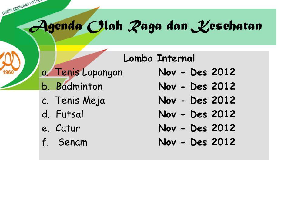 Agenda Olah Raga dan Kesehatan Lomba Internal a. Tenis LapanganNov - Des 2012 b. BadmintonNov - Des 2012 c. Tenis MejaNov - Des 2012 d. FutsalNov - De