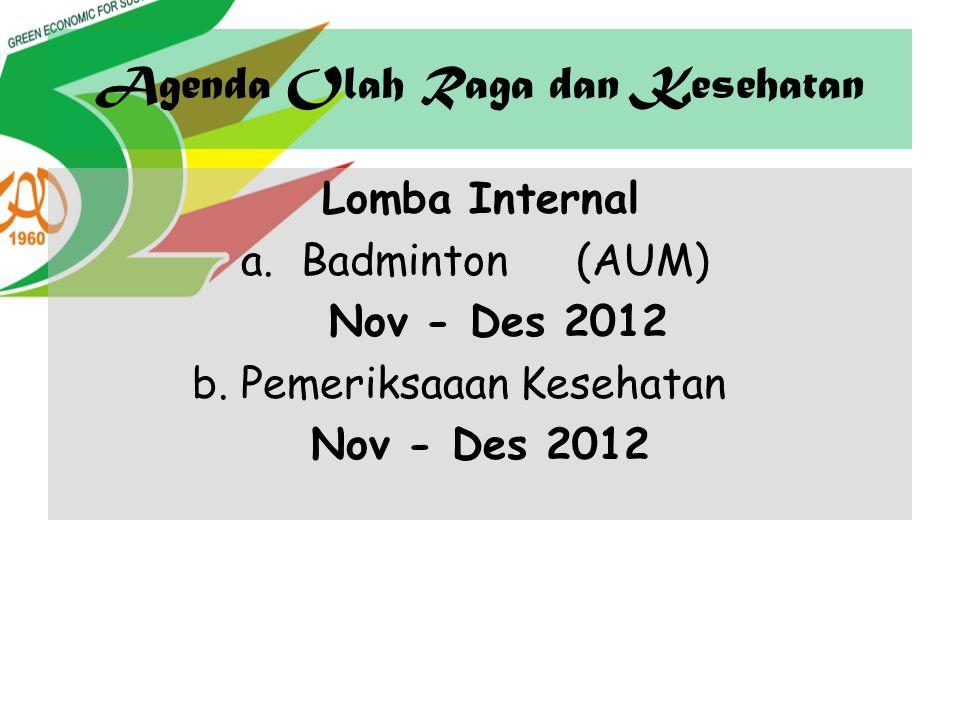 Agenda Olah Raga dan Kesehatan Lomba Internal a.Badminton(AUM) Nov - Des 2012 b. Pemeriksaaan Kesehatan Nov - Des 2012
