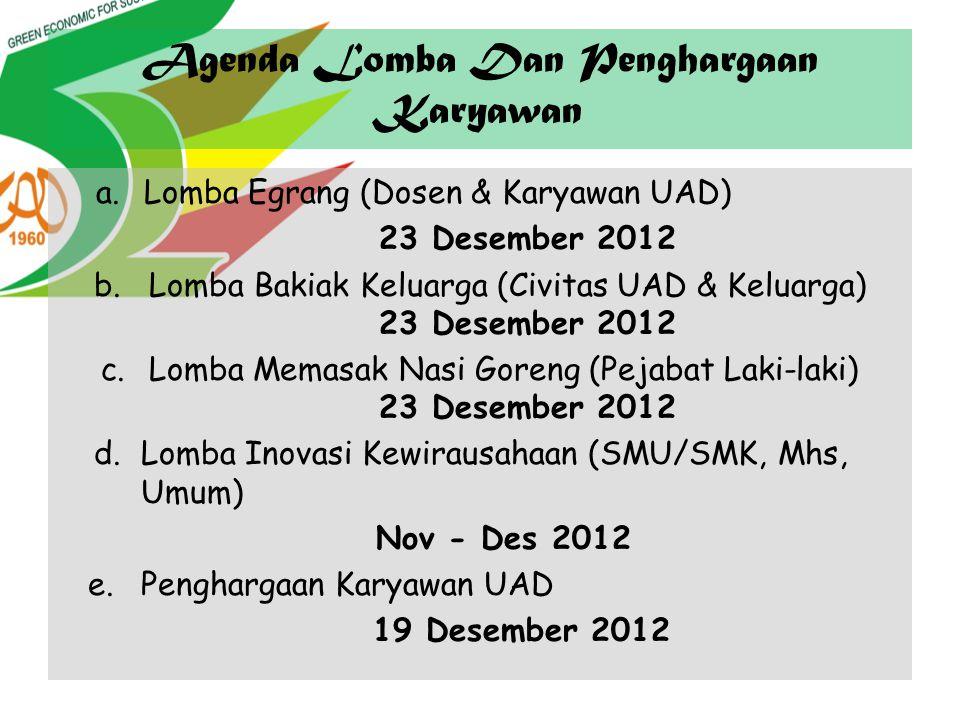 Agenda Lomba Dan Penghargaan Karyawan a.Lomba Egrang (Dosen & Karyawan UAD) 23 Desember 2012 b. Lomba Bakiak Keluarga (Civitas UAD & Keluarga) 23 Dese