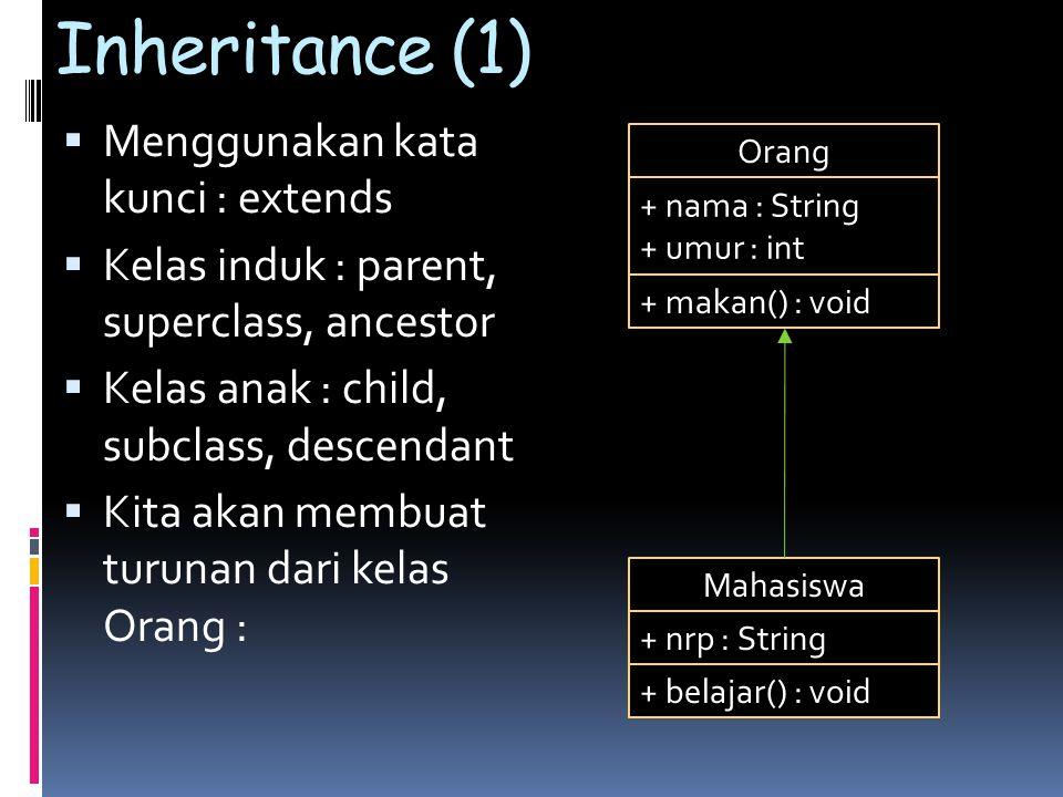 Inheritance (1)  Menggunakan kata kunci : extends  Kelas induk : parent, superclass, ancestor  Kelas anak : child, subclass, descendant  Kita akan membuat turunan dari kelas Orang : Orang + nama : String + umur : int + makan() : void Mahasiswa + nrp : String + belajar() : void