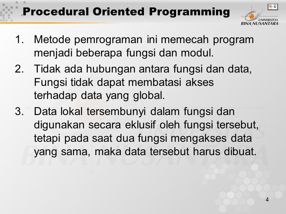 4 1.Metode pemrograman ini memecah program menjadi beberapa fungsi dan modul. 2.Tidak ada hubungan antara fungsi dan data, Fungsi tidak dapat membatas
