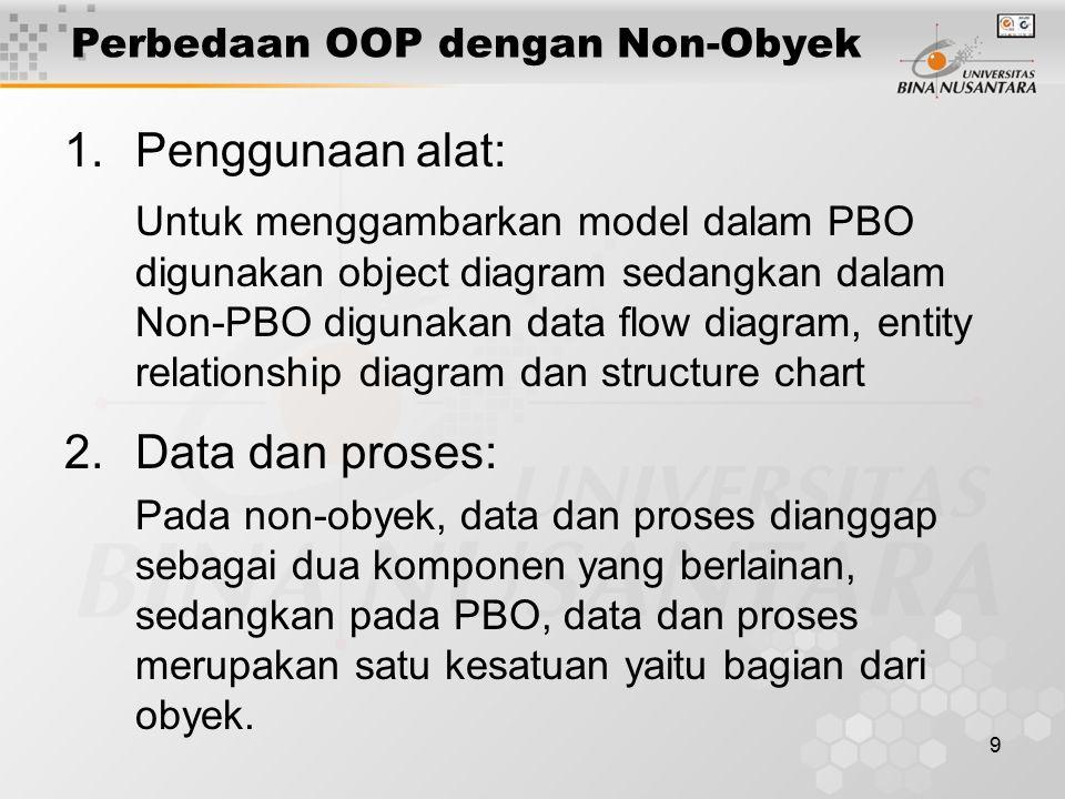 9 1.Penggunaan alat: Untuk menggambarkan model dalam PBO digunakan object diagram sedangkan dalam Non-PBO digunakan data flow diagram, entity relation