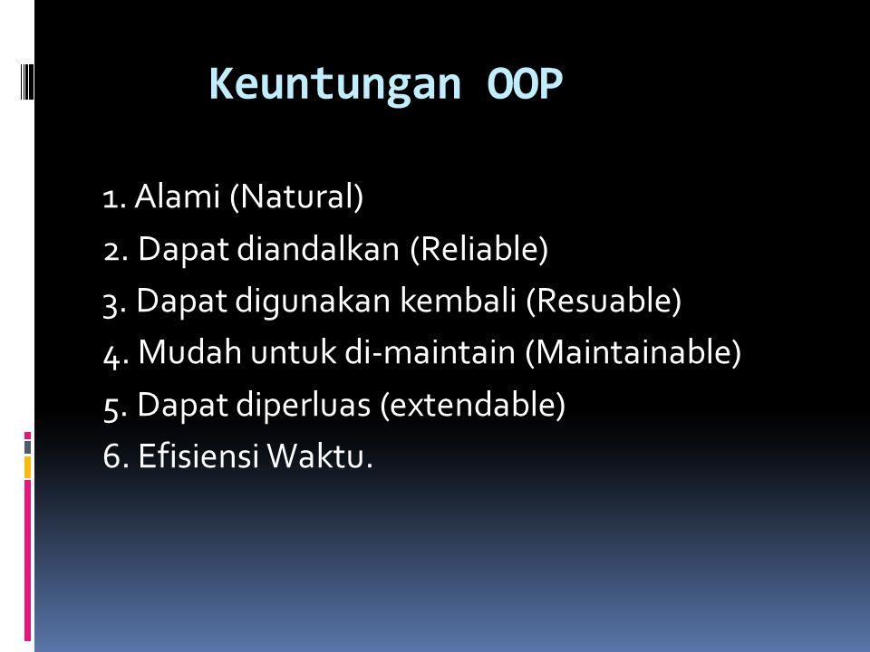 Keuntungan OOP 1. Alami (Natural) 2. Dapat diandalkan (Reliable) 3. Dapat digunakan kembali (Resuable) 4. Mudah untuk di-maintain (Maintainable) 5. Da