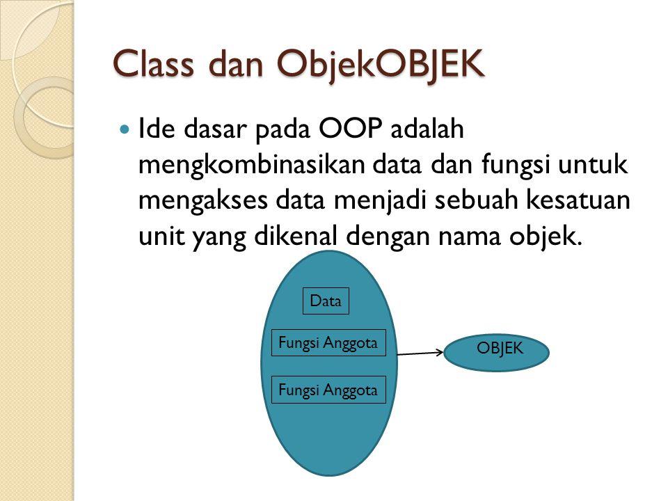 Class dan ObjekOBJEK Ide dasar pada OOP adalah mengkombinasikan data dan fungsi untuk mengakses data menjadi sebuah kesatuan unit yang dikenal dengan