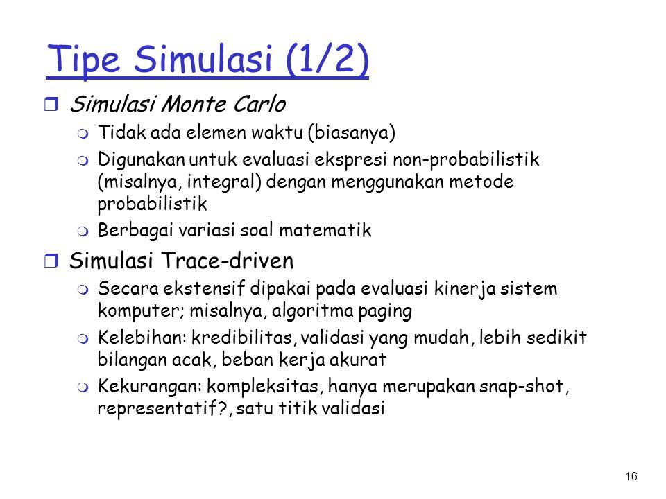 16 Tipe Simulasi (1/2) r Simulasi Monte Carlo m Tidak ada elemen waktu (biasanya) m Digunakan untuk evaluasi ekspresi non-probabilistik (misalnya, int