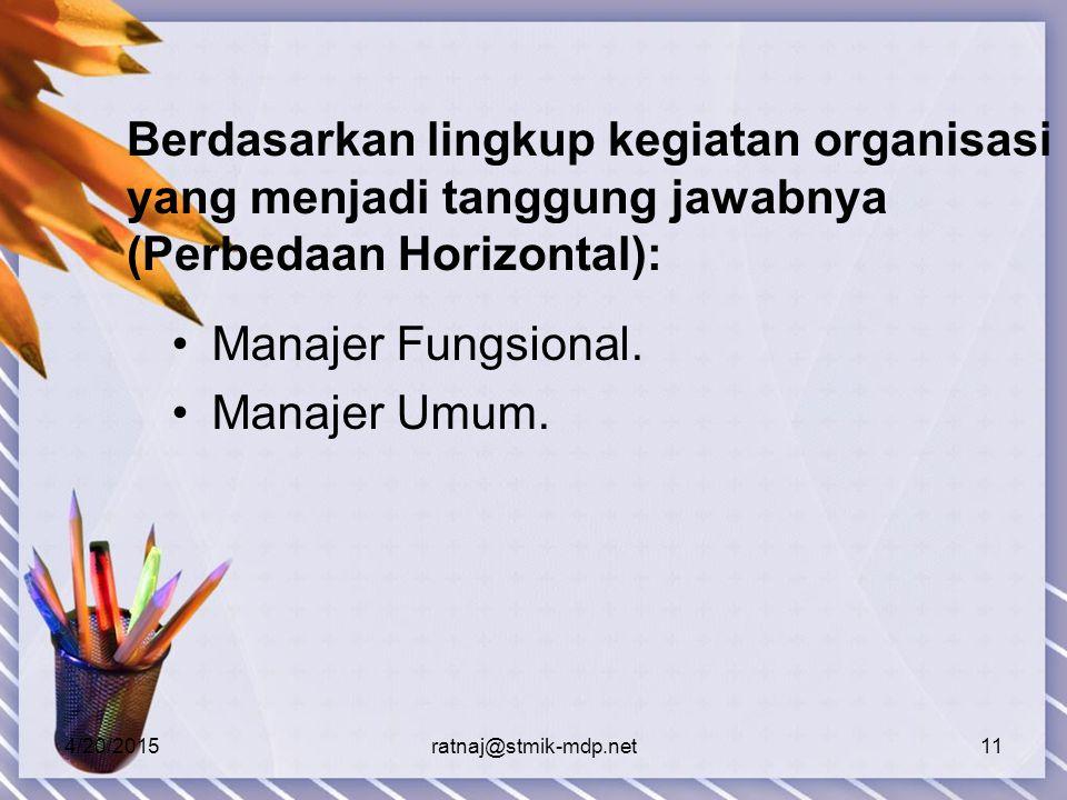 4/20/2015ratnaj@stmik-mdp.net11 Berdasarkan lingkup kegiatan organisasi yang menjadi tanggung jawabnya (Perbedaan Horizontal): Manajer Fungsional.