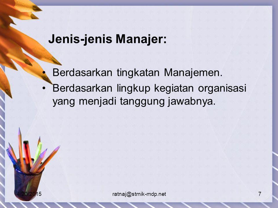 4/20/2015ratnaj@stmik-mdp.net7 Jenis-jenis Manajer: Berdasarkan tingkatan Manajemen.