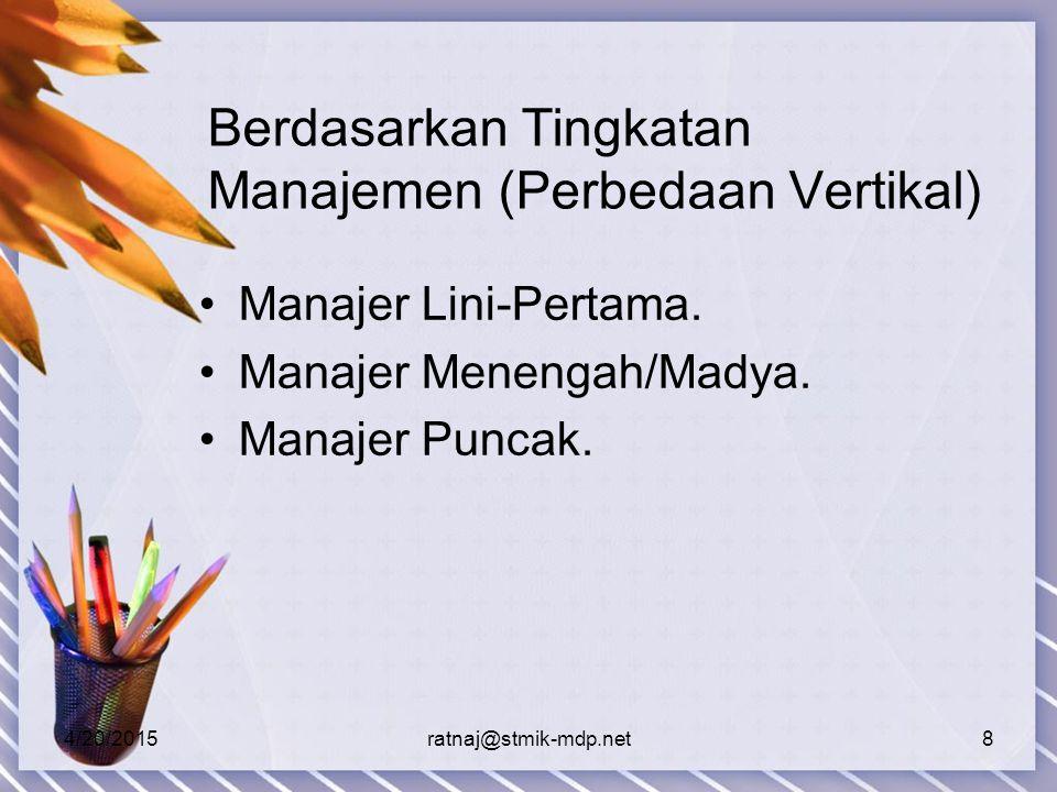4/20/2015ratnaj@stmik-mdp.net8 Berdasarkan Tingkatan Manajemen (Perbedaan Vertikal) Manajer Lini-Pertama.