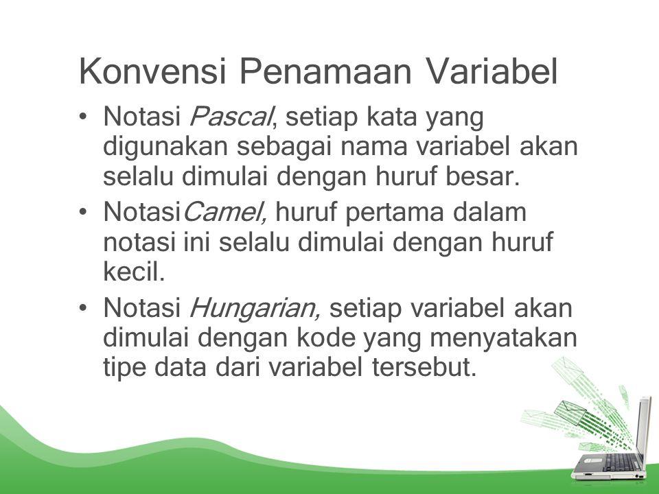 Kategori Variabel Variabel static, variabel instance, variabel local.