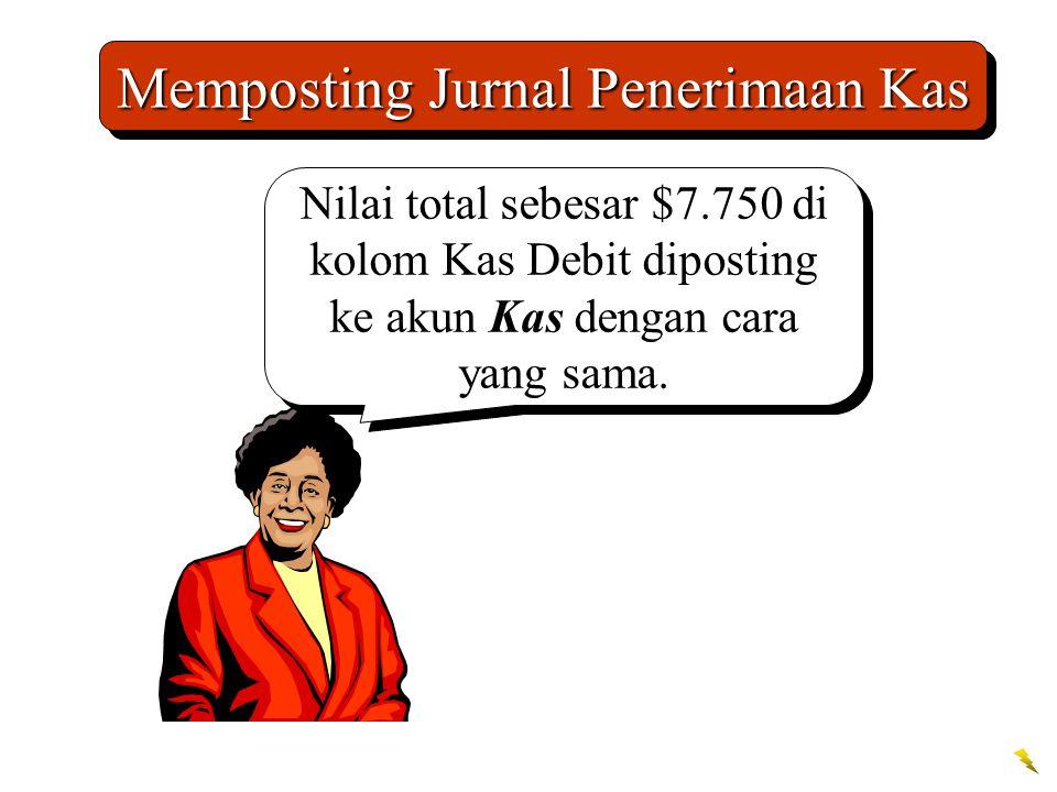 Memposting Jurnal Penerimaan Kas Nilai total sebesar $7.750 di kolom Kas Debit diposting ke akun Kas dengan cara yang sama.