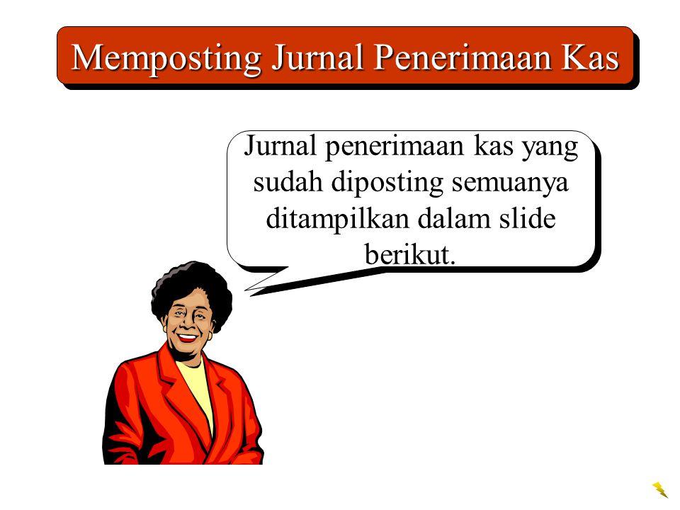 Memposting Jurnal Penerimaan Kas Jurnal penerimaan kas yang sudah diposting semuanya ditampilkan dalam slide berikut.