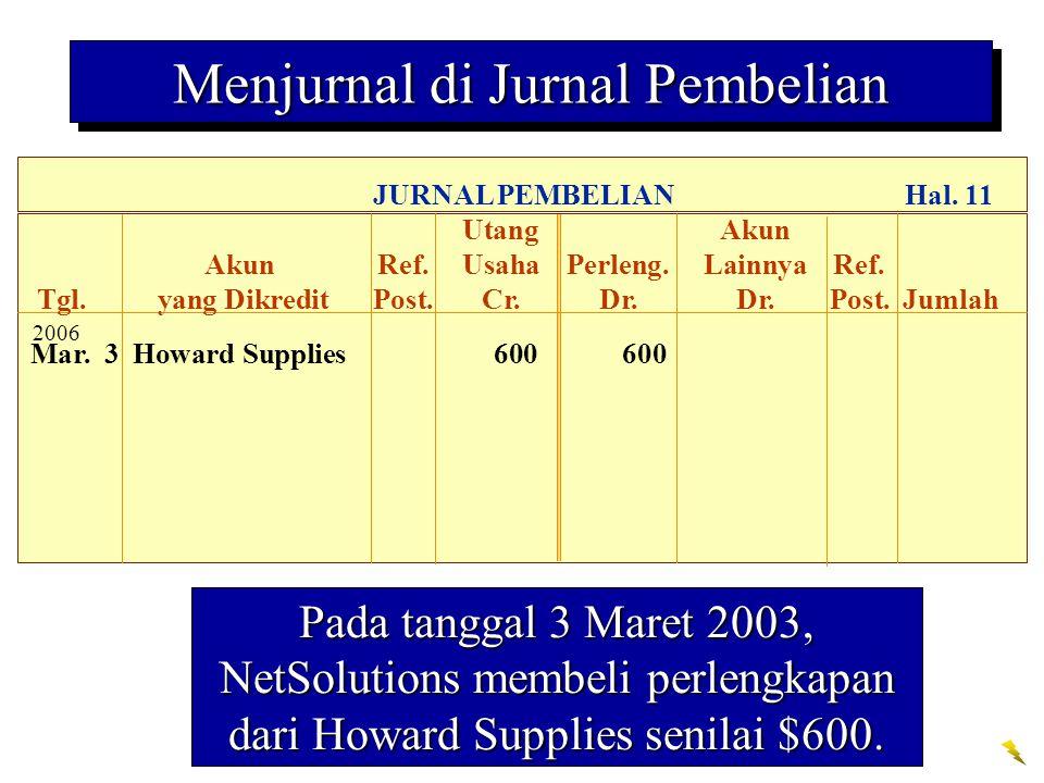 Pada tanggal 3 Maret 2003, NetSolutions membeli perlengkapan dari Howard Supplies senilai $600.