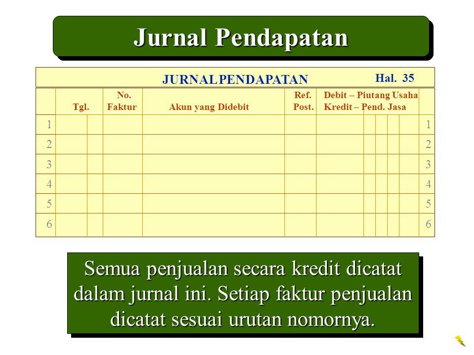 Jurnal Pendapatan Semua penjualan secara kredit dicatat dalam jurnal ini.