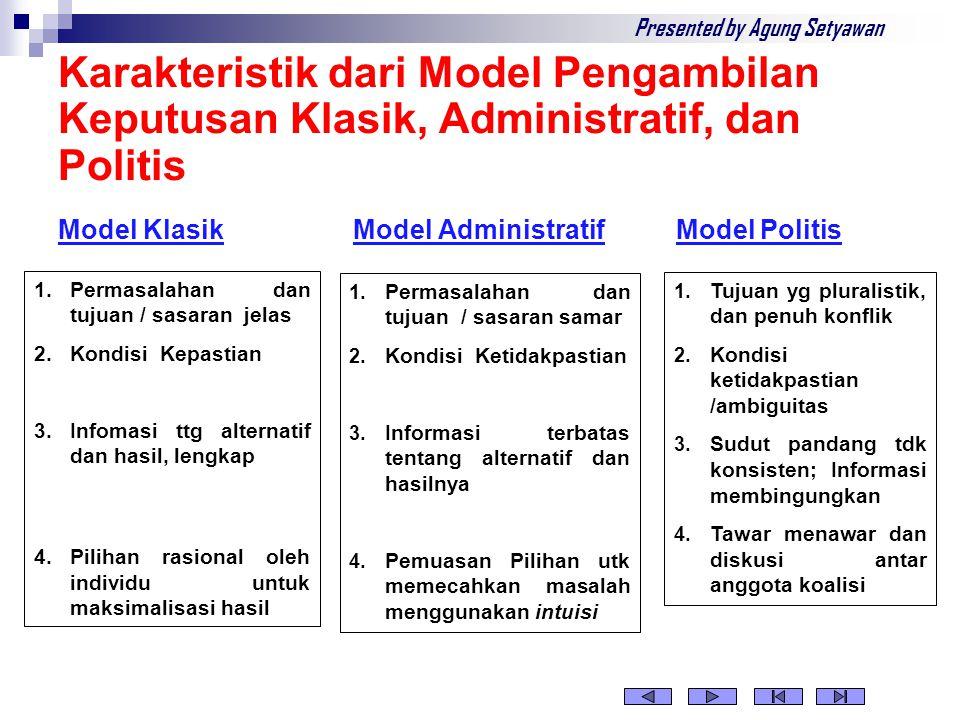 1.Permasalahan dan tujuan / sasaran jelas 2.Kondisi Kepastian 3.Infomasi ttg alternatif dan hasil, lengkap 4.Pilihan rasional oleh individu untuk maksimalisasi hasil 1.