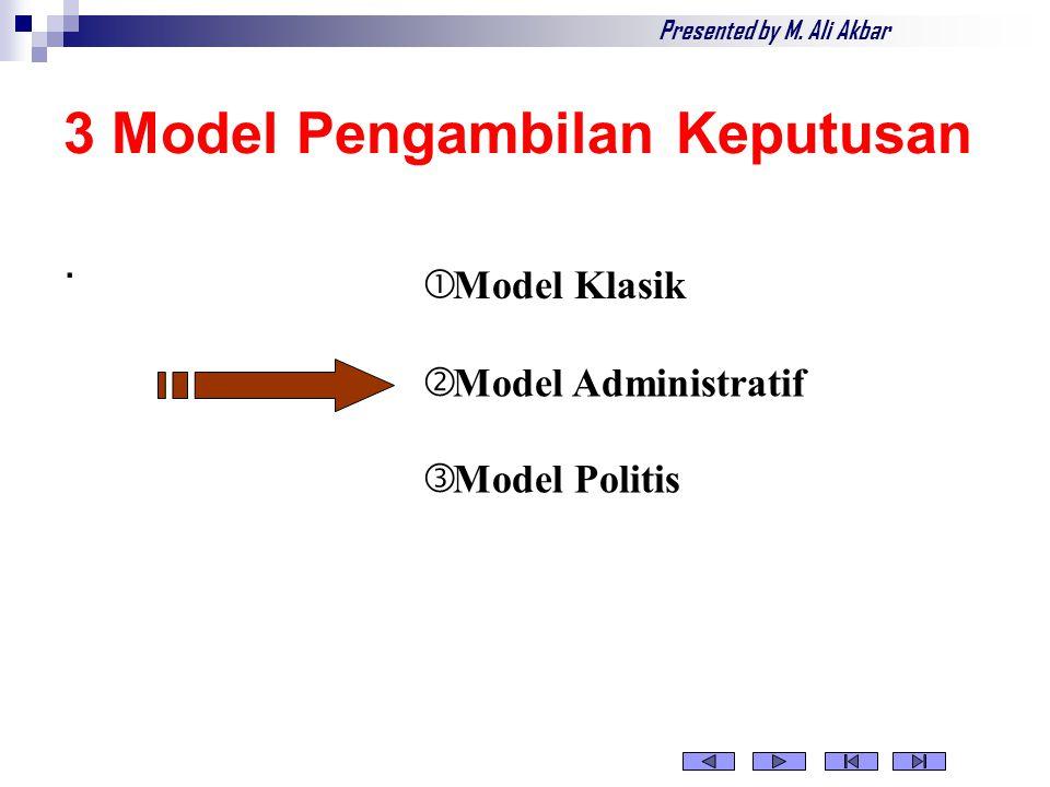 Model Klasik  Pengambil keputusan bertindak untuk mencapai tujuan yang diketahui dan disepakati  Pengambil keputusan mengusahakan kondisi kepastian  Kriteria untuk mengevaluasi alternatif diketahui  Pengambil keputusan adalah orang yang rasional dan menggunakan logika Presented by M.