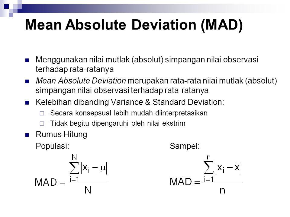Menggunakan nilai mutlak (absolut) simpangan nilai observasi terhadap rata-ratanya Mean Absolute Deviation merupakan rata-rata nilai mutlak (absolut) simpangan nilai observasi terhadap rata-ratanya Kelebihan dibanding Variance & Standard Deviation:  Secara konsepsual lebih mudah diinterpretasikan  Tidak begitu dipengaruhi oleh nilai ekstrim Rumus Hitung Populasi:Sampel: Mean Absolute Deviation (MAD)