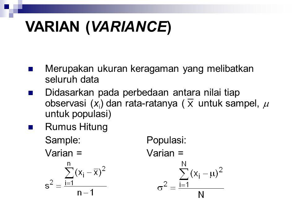 Merupakan ukuran keragaman yang melibatkan seluruh data Didasarkan pada perbedaan antara nilai tiap observasi (x i ) dan rata-ratanya ( untuk sampel,  untuk populasi) Rumus Hitung Sample: Populasi: Varian = VARIAN (VARIANCE)
