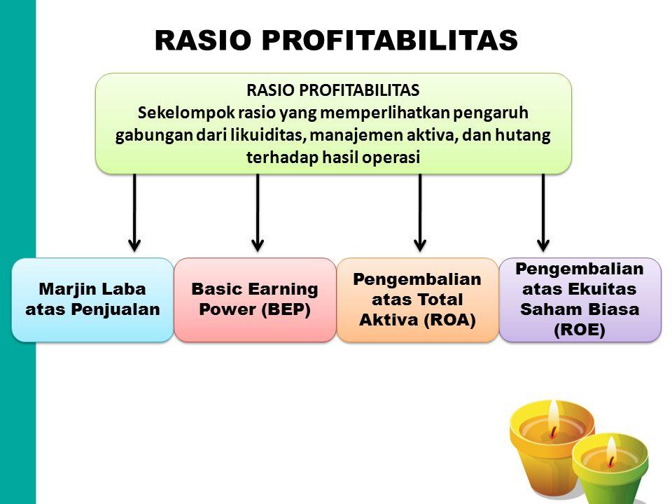 RASIO PROFITABILITAS Sekelompok rasio yang memperlihatkan pengaruh gabungan dari likuiditas, manajemen aktiva, dan hutang terhadap hasil operasi RASIO