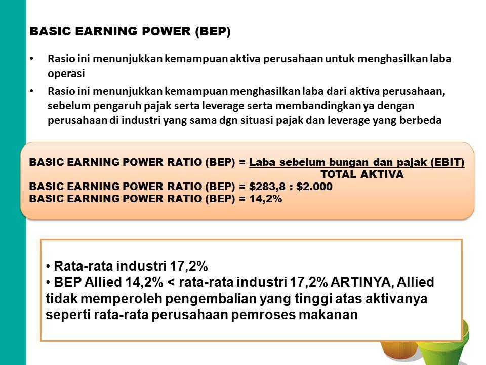BASIC EARNING POWER (BEP) Rasio ini menunjukkan kemampuan aktiva perusahaan untuk menghasilkan laba operasi Rasio ini menunjukkan kemampuan menghasilk