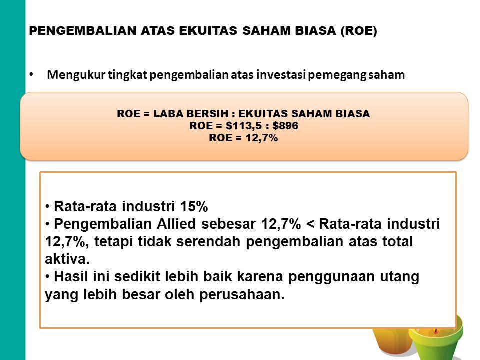 PENGEMBALIAN ATAS EKUITAS SAHAM BIASA (ROE) Mengukur tingkat pengembalian atas investasi pemegang saham ROE = LABA BERSIH : EKUITAS SAHAM BIASA ROE =