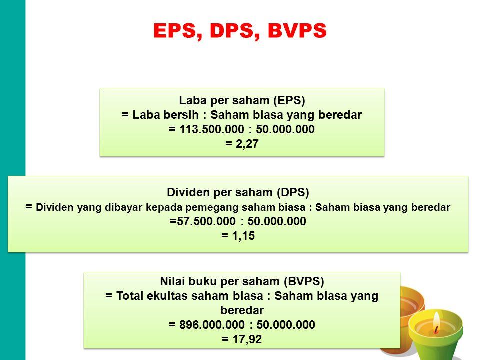 EPS, DPS, BVPS Terdapat 50.000.000 lembar saham biasa yang beredar Laba per saham (EPS) = Laba bersih : Saham biasa yang beredar = 113.500.000 : 50.00