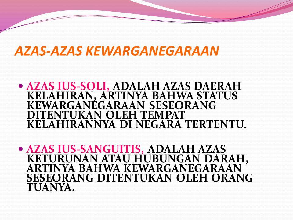 AZAS-AZAS KEWARGANEGARAAN AZAS IUS-SOLI, ADALAH AZAS DAERAH KELAHIRAN, ARTINYA BAHWA STATUS KEWARGANEGARAAN SESEORANG DITENTUKAN OLEH TEMPAT KELAHIRAN