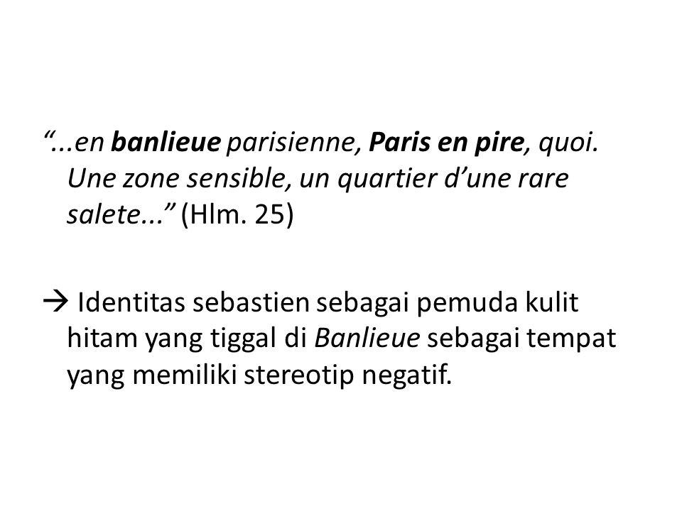 """""""...en banlieue parisienne, Paris en pire, quoi. Une zone sensible, un quartier d'une rare salete..."""" (Hlm. 25)  Identitas sebastien sebagai pemuda k"""