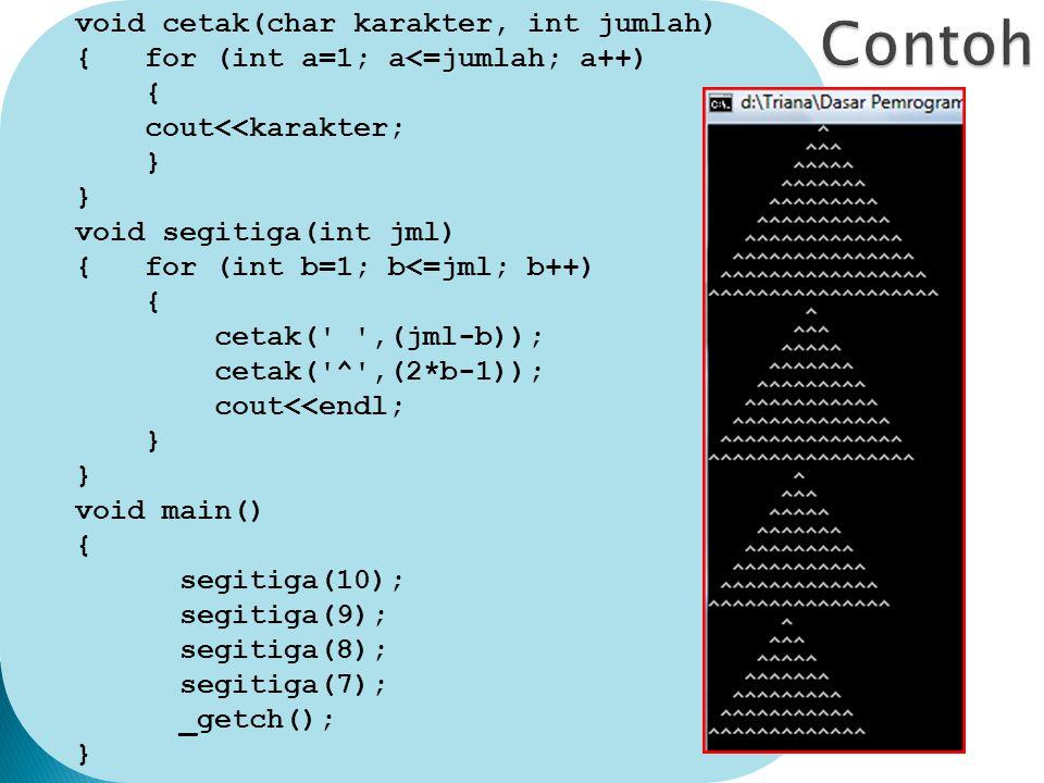 void cetak(char karakter, int jumlah) { for (int a=1; a<=jumlah; a++) { cout<<karakter; } void segitiga(int jml) { for (int b=1; b<=jml; b++) { cetak( ,(jml-b)); cetak( ^ ,(2*b-1)); cout<<endl; } void main() { segitiga(10); segitiga(9); segitiga(8); segitiga(7); _getch(); }