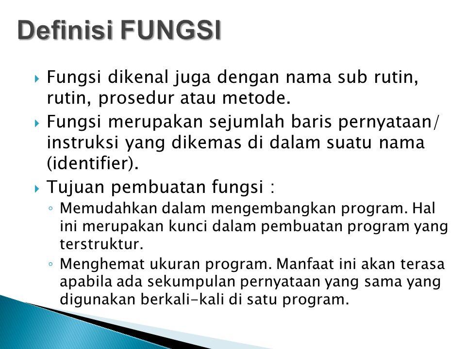  Fungsi dikenal juga dengan nama sub rutin, rutin, prosedur atau metode.