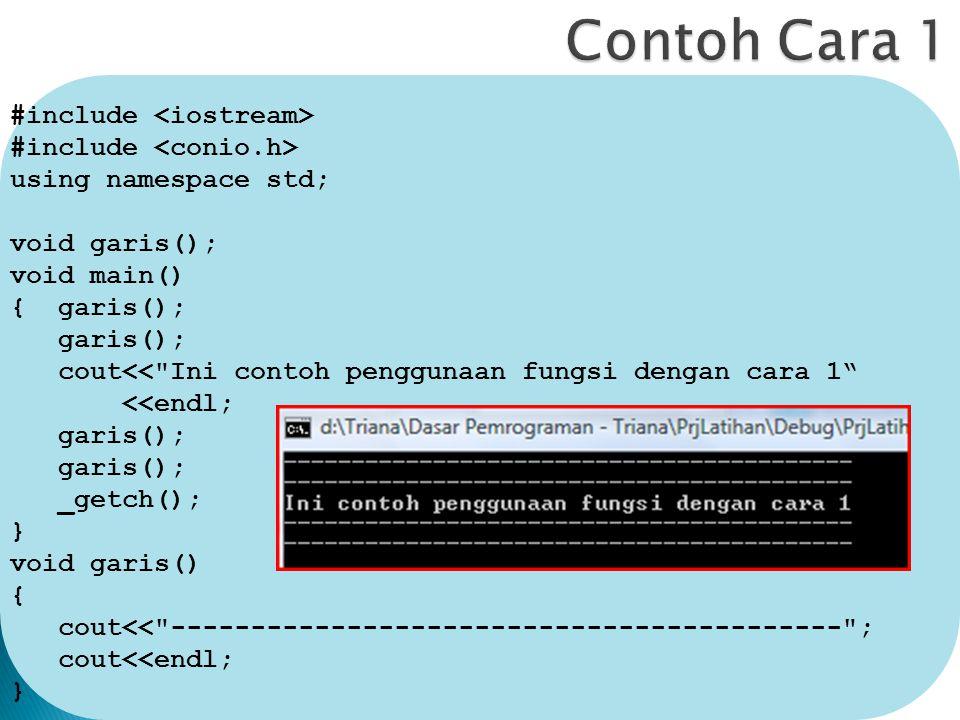#include using namespace std; void garis(); void main() { garis(); garis(); cout<< Ini contoh penggunaan fungsi dengan cara 1 <<endl; garis(); _getch(); } void garis() { cout<< ------------------------------------------ ; cout<<endl; }