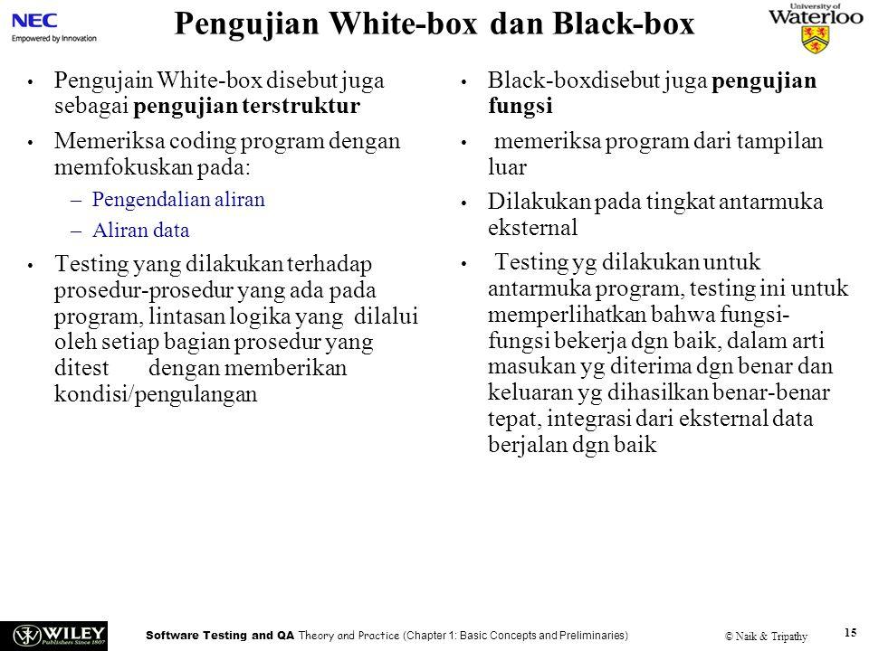 Software Testing and QA Theory and Practice (Chapter 1: Basic Concepts and Preliminaries) © Naik & Tripathy 15 Pengujian White-box dan Black-box Pengu