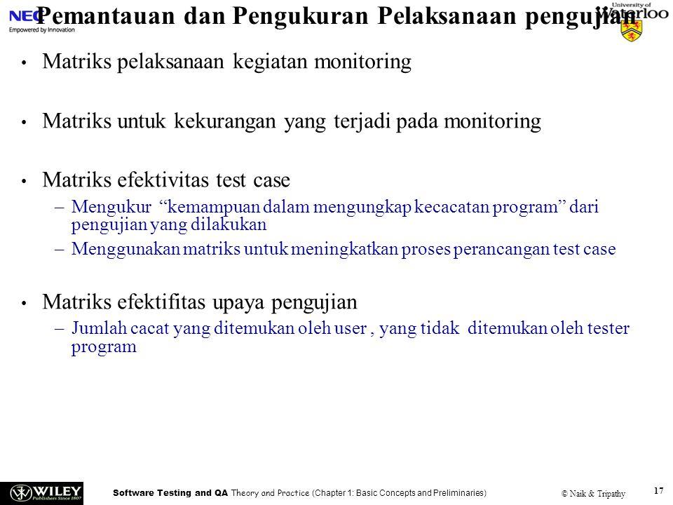 Software Testing and QA Theory and Practice (Chapter 1: Basic Concepts and Preliminaries) © Naik & Tripathy 17 Pemantauan dan Pengukuran Pelaksanaan p