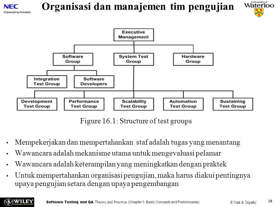 Software Testing and QA Theory and Practice (Chapter 1: Basic Concepts and Preliminaries) © Naik & Tripathy 18 Organisasi dan manajemen tim pengujian