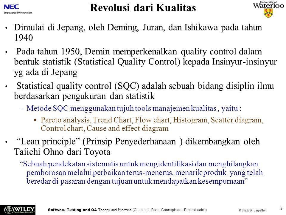 Software Testing and QA Theory and Practice (Chapter 1: Basic Concepts and Preliminaries) © Naik & Tripathy 3 Revolusi dari Kualitas Dimulai di Jepang