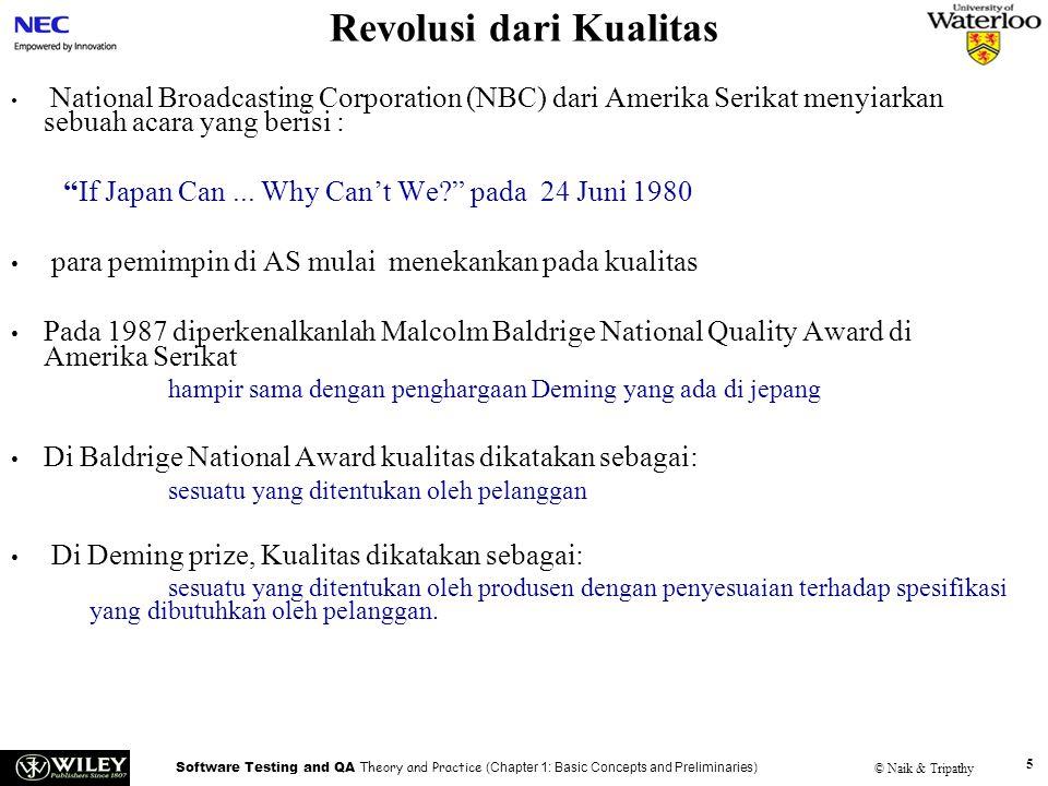 Software Testing and QA Theory and Practice (Chapter 1: Basic Concepts and Preliminaries) © Naik & Tripathy 5 Revolusi dari Kualitas National Broadcas
