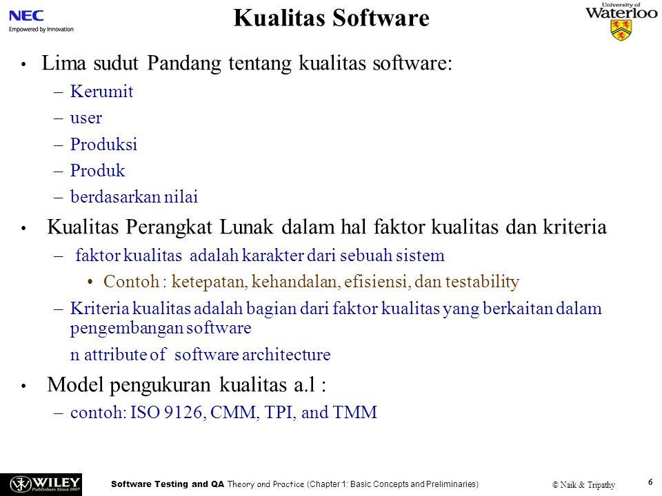 Software Testing and QA Theory and Practice (Chapter 1: Basic Concepts and Preliminaries) © Naik & Tripathy 6 Kualitas Software Lima sudut Pandang ten
